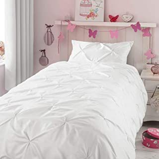 HORIMOTE HOME Kids Duvet Cover Twin, White Duvet Cover Set for Baby Teen Girls Bedroom, Cute Ruched Pinch Pleated Pintuck Style Duvet Cover, 69