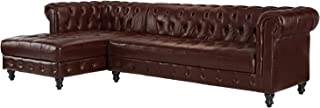 Divano Roma Furniture Classic Real Tufted Leather Match Chesterfield L Shape Sectional Sofa with Chaise (Dark Brown)