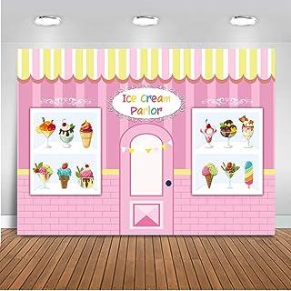 Mehofoto Ice Cream Parlor Telón de fondo 7x5ft Vinilo Helado Tema Feliz fiesta de cumpleaños Photo
