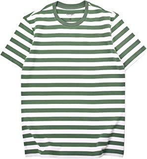 Zengjo Essential Stripes T-Shirts Comfort Short-Sleeve Crew-Neck Striped Tee Top