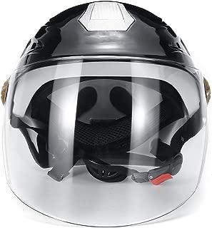 Motorcycle Electric Vehicle Helmet UNISEX Summer Rain Proof Half helmet Anti-sunburn Ultraviolet-proof Brown Lens 55-62cm (Gray)