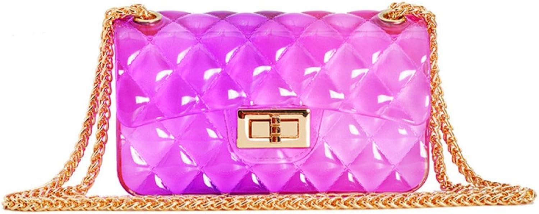 AI BAO Women Summer Gradient color Jelly Bag Lingge Small Fragrance Mini Chain Bag Locking Shoulder Bag