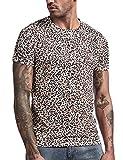 COSAVOROCK Camiseta de Estampado Leopardo de Manga Corta Hombre M