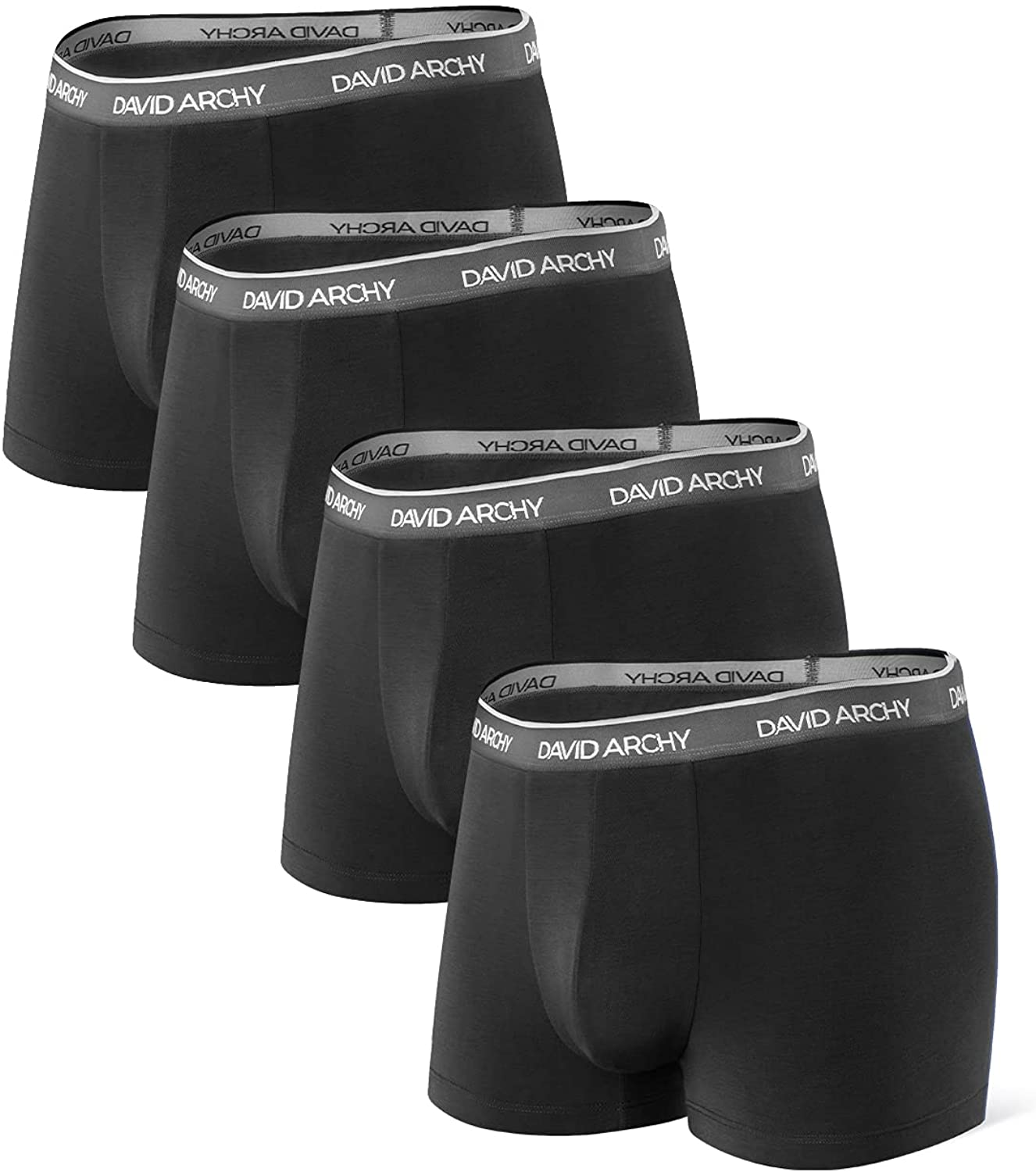 DAVID ARCHY Men's Underwear Ultra Soft Comfy Breathable Bamboo Rayon Trunks in 4 or 7 Pack