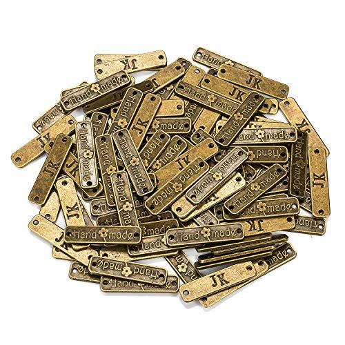 100 Stück Handmade knöpfe Metall Label Hand Made DIY Handwerk Schmuck Herstellung Zubehör Basteln Dekorationen Handmade Kleidungszubehör Dekor Metall Handmade Knöpfe DIY Buttons