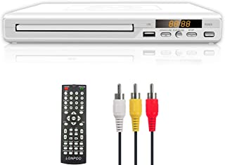 Compact DVD Player for TV, LONPOO Region Free DVD CD Discs Player with AV Output (NO HDMI Port), Built-in PAL/NTSC, Supports USB, Remote Control (White)