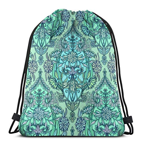 Hangdachang Classic Drawstring Backpack Small Drawstring Backpack Waterproof Graffiti Mint Green Cool Adult Hiking Sports Backpack Storage Bag for Children