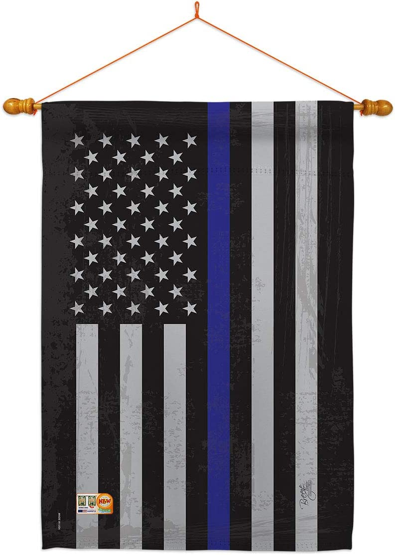 Breeze 売買 Decor Police US Blue Stripe House Armed Set お気に入り Flag Fo Dowel