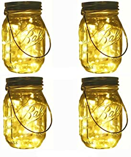 Solar Mason Jar Lights, Decem 4 Pack 10 LED Warm White Fairy Firefly String Lights, Build-in Glass Mason Jars for Patio Ga...