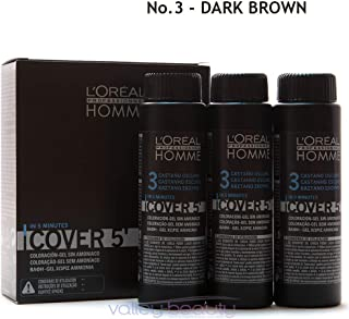 Loreal Homme Cover 5 - Ammonia Free 5-minute Color for Men (3 Darkest Brown) by L'Oreal Paris