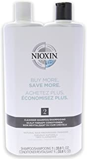Nioxin System 2 Cleanser Scalp Therapy Conditioner Duo For Unisex 33.8 oz Cleanser & Conditioner