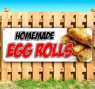 Homemade Egg Rolls 13 oz Heavy Duty Vinyl Banner Sign with Metal Grommets, New, Store, Advertising, Flag, (Many Sizes Available)