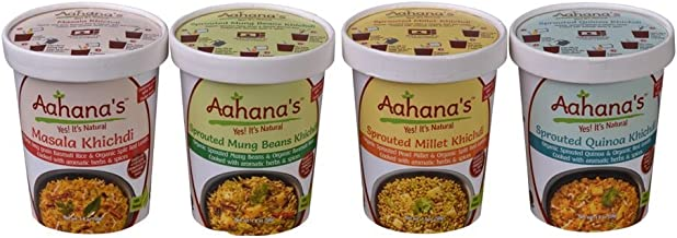 Vegan Gluten Free Combo Variety Pack Ayurveda Bowl - Sprouted Mung Beans, Sprouted Masala, Sprouted Millet, Sprouted Quinoa with Organic Basmati Rice and Red Split Lentil (8 pack) by Aahana's