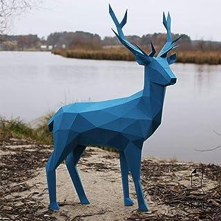 鹿立体パズル、彫刻作曲DIYペーパーモデル、3Dペーパーアニマルパズル、DIYクラフトキットアーツ子鹿折り紙モデルオーナメント