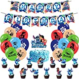 Birthday Party Supplies - Lilo & Stitch Party Supplies - Stitch Birthday Party Decoration Happy Birthday Banner Balloon Cake Toppers for Stitch Party Supplies