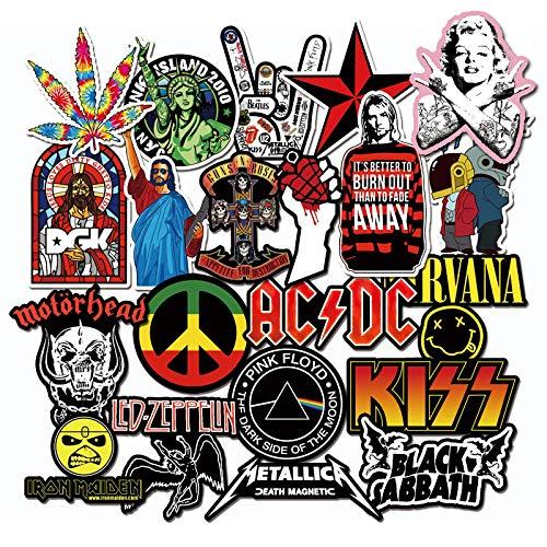 Metal pesado rock metallica punk acdc guitarra Cobain nirvana, adhesivo impermeable calle, 21 piezas