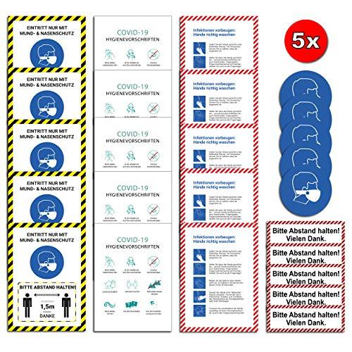 25x Corona Premium Set 5 Motive Aufkleber A4 | 21 x 29,7cm Bitte Abstand halten/Hygienevorschriften/Infektionen vorbeugen/Sticker mit UV Schutz für Außen-und Innenbereich