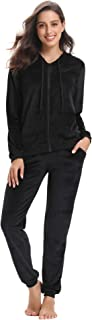 Women's Long Sleeve Solid Velour Sweatsuit Set Hoodie and Pants Sport Suits Tracksuits