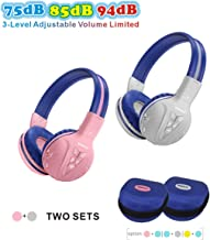 2 Pack of SIMOLIO Kids Headphone Wireless Bluetooth with Volume Limited, Durable Wireless Kids Headset, Wireless Headphone for Kids, Kids Safe Headphones with Case for Travel,School Daily(Pink,Grey)