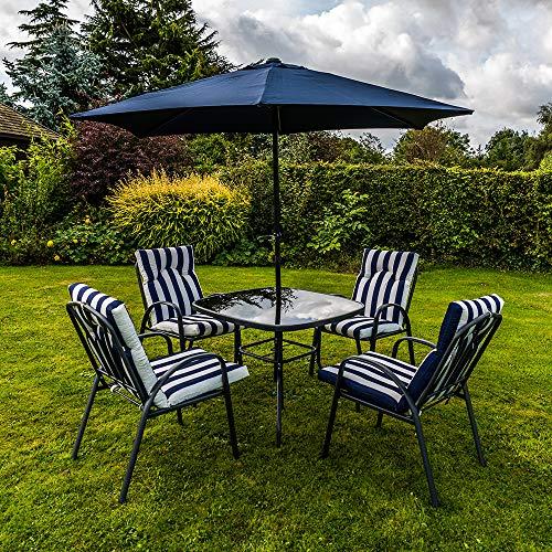 Martín pescador 6piezas acolchado sillas x4, mesa de cristal y sombrilla jardín muebles de jardín de, Navy Blue/White