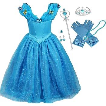 Lito Angels Fille Princesse Cendrillon Costume D/éguisement Robe Soir/ée C/ér/émonie Anniversaire No/ël Halloween Partie Carnaval Cosplay Habill/ée 3-4 Ans