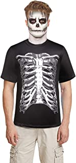 SSLR Men's Skeleton Crewneck Short Sleeve Halloween T Shirt