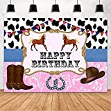 MEHOFOND Cowboy Happy Birthday Party Decoration Backdrop for Girl Black and White Pink West Cowgirl Cowboy Hat Riding Boots Horse Photograph Background Vinyl Backdrop 7x5ft