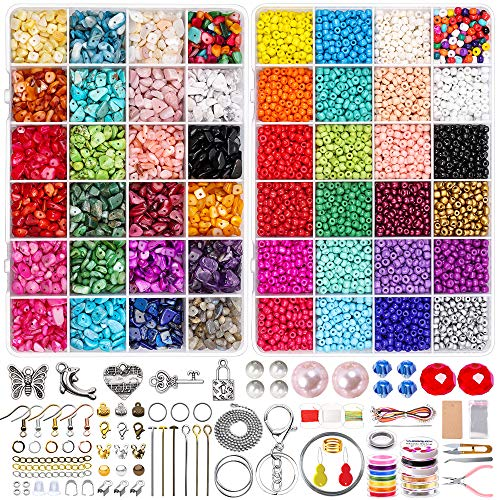 Jewelry Making Supplies Kit Includes Glass Seed Beads Gemstone Crystal Chips,Display Card,Findings,Charms,Tools and Wires for Earrings Necklace Bracelet Making,Gift for Beginners,Girls and Adult