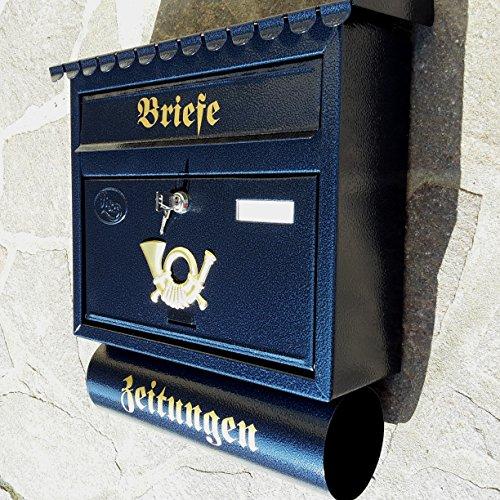 Naturholz-Schreinermeister Großer Briefkasten/Postkasten XXL Blau/Dunkelblau mit Zeitungsrolle Flachdach Katalogeinwurf Zeitungsfach