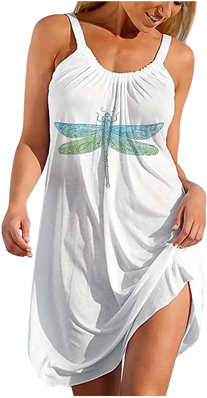 Masbird Summer Dresses for Women Casual Beach Sundress Floral Sleeveless Bohemian Dress Loose Tank Dress Swing Dress
