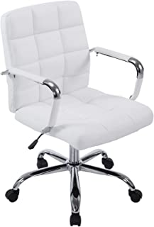 Poly and Bark Manchester Mid-Century Modern Office Chair, Adjustable Height, Tilt and 360 Swiwel, Aluminum Base, Chrome Coated Frame, Soft Vegan Leather in White