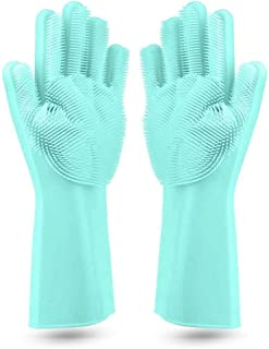 ZZ ZONEX Magic Silicone Cleaning Hand Gloves for Kitchen Dishwashing and Pet Grooming, Washing Dish, Car, Bathroom (Multi ...