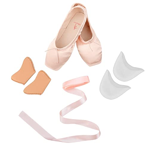 8a7c843a6436 Skyrocket Girls Womens Dance Shoe Pink Satin Ballet Pointe Shoes with Ribbon  and Toe Pads