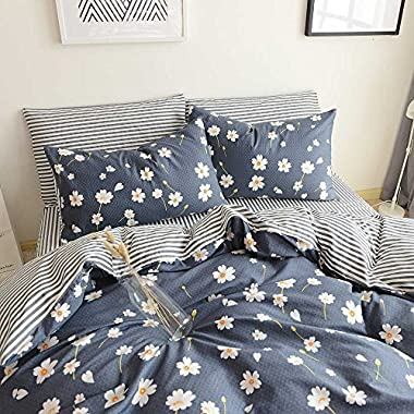HIGHBUY Vintage Flower Printed Bedding Duvet Cover Set Queen Cotton Sateen Romantic Floral Duvet Cover with 2 Pillow Shams Reversible Striped Bedding Sets Full/Queen Size by (Queen, Daisy)