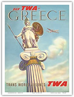 Greece - Fly TWA Trans World Airlines - Athena - Vintage Airline Travel Poster by S. Almaliction c.1955 - Master Art Print - 9in x 12in