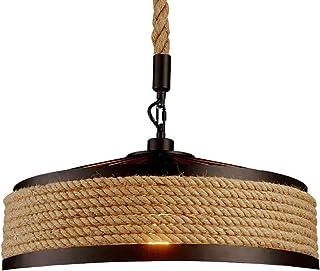 Retro industrial hierro vintage Loft lámpara colgante vintage cuerda lámpara de techo, cuerda rústica cuerda de cáñamo hierro candelabro redondo colgante jaula bar restaurantes dormitorio luz