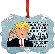 Andaz Press President Donald Trump Fancy Frame Keepsake Christmas Ornament Gag Gift, Insurance Sales Agent, 1-Pack, Funny Novelty Metal Holiday Birthday Present Ideas Republican Political Satire