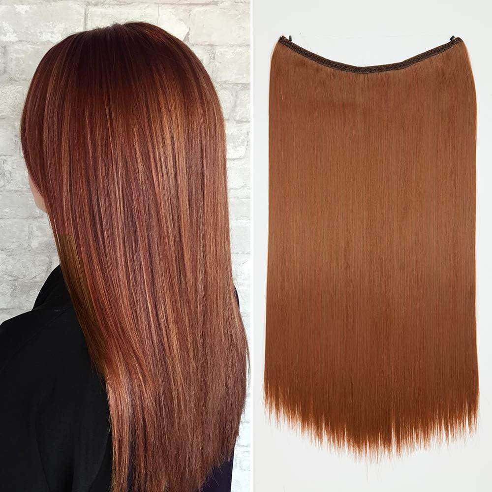 Extensión de cabello con ondulado invisible Ondulado ondulado Diadema de alambre individual en extensiones de cabello 3/4 Cabeza completa 24 pulgadas ...