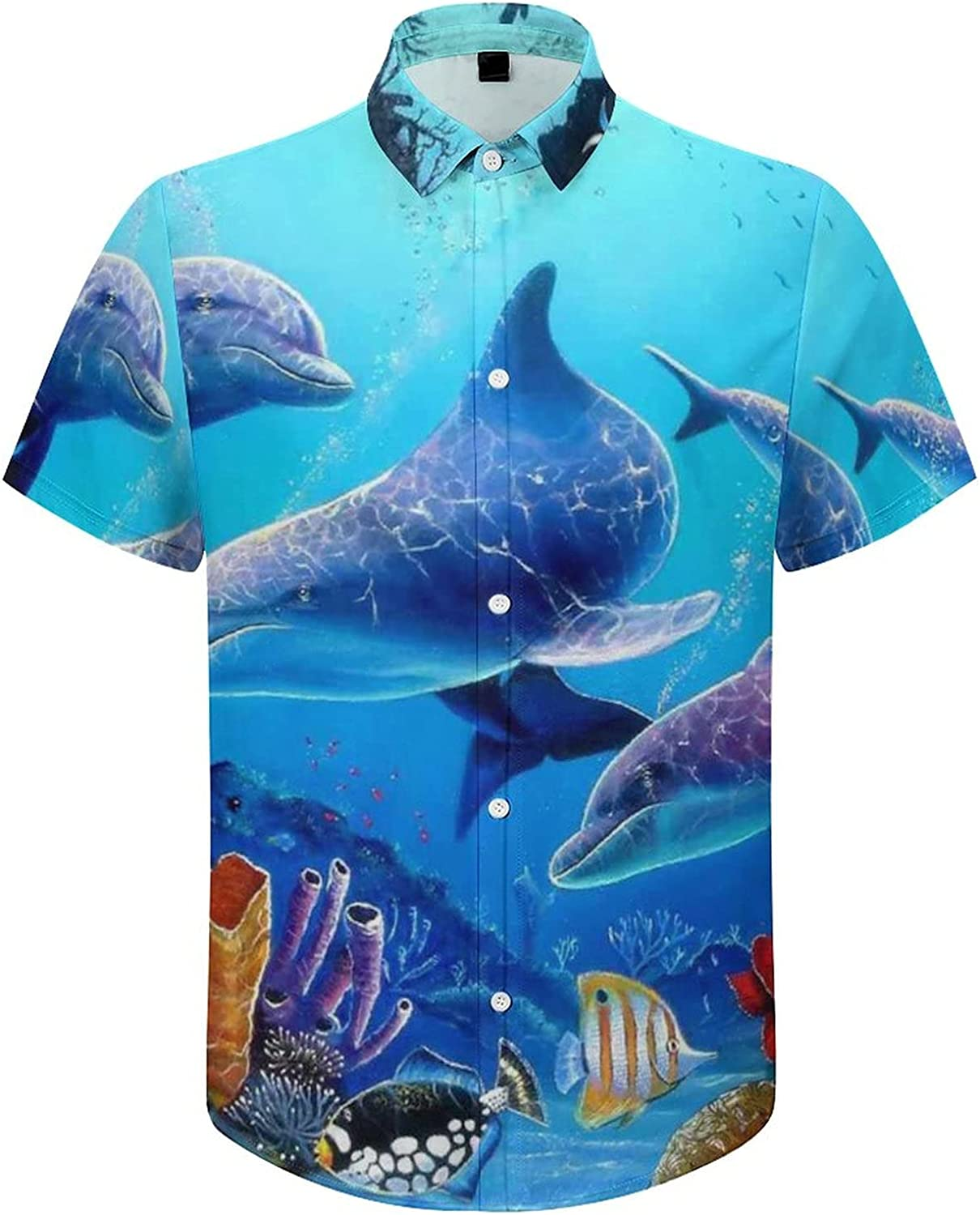 Men's Regular-Fit Short-Sleeve Printed Party Holiday Shirt Ocean Dolphin Colorful Fish