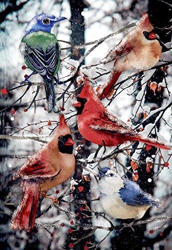 "Morigins Winter Cardinals Decorative Double Sided Snow Christmas Garden Flag 12.5""x18"""