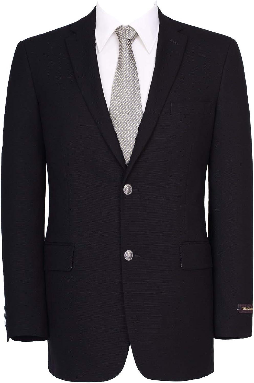 Pio Lorenzo Men's Sport Coat Classic Fit Suit Jacket 2 Button Business Blazer