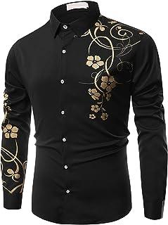 Heren punk-shirt mode lange mouwen bloemenprint knoop revers kraag vrijetijdshemd lange mouwen revers bedrukt casual shirt...