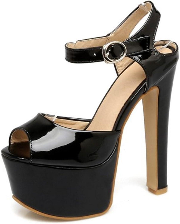 Smilice Women Trending Plus Size 30-48 EU Dressy High Heels Peep Toe Platform Sandals