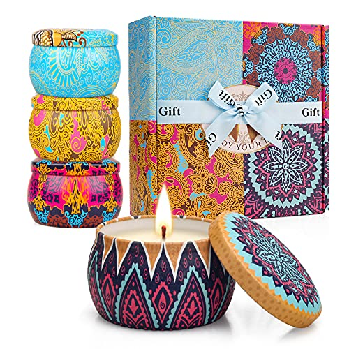 4 Pack Scented Candles Gifts Set for Women, 4.4 oz Soy Wax Portable Travel & Home Tin Jar Candles with Essential Oils for Bath, Stress Relief, Yoga Aromatherapy Candles with Strong Fragrance