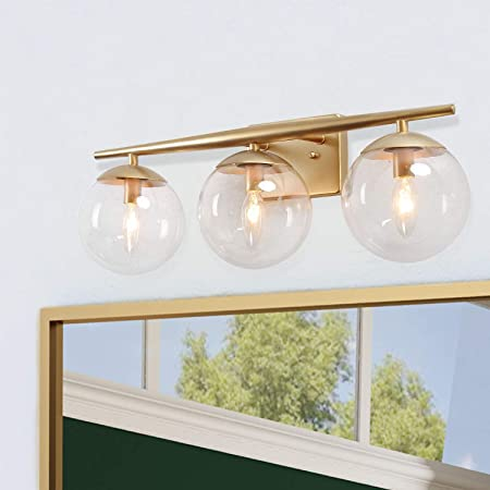 Ksana Gold Bathroom Light Fixtures Modern Bathroom Lights Over Mirror 3 Light Bathroom Vanity Light Fixtures With Clear Globe Glass Shades And Taper Arm Amazon Com