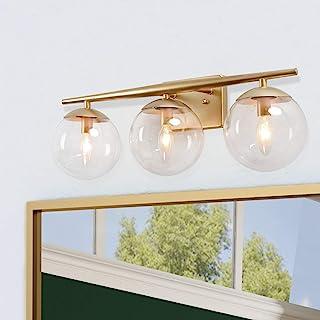 KSANA Orange Gold Vanity Light 3 Modern Bathroom Fixture with Clear Globe Glass Shades and Taper Arm