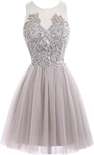 2d131fcaced31 JAEDEN Short Lace Homecoming Dress Tulle Prom Party Gown See Through Back  Cocktail Dress Sleeveless
