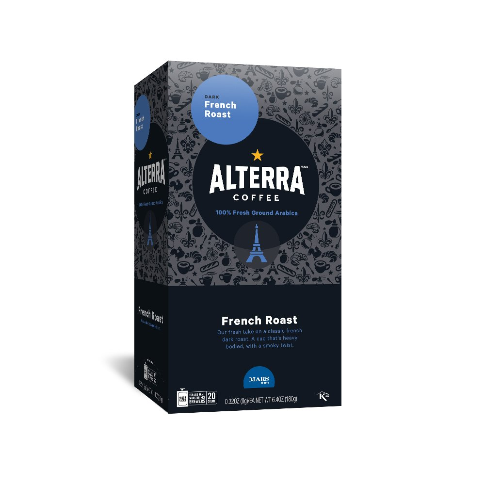 ALTERRA Coffee French Roast Single Serve Freshpacks for MARS DRINKS FLAVIA Brewer, 20 Packets
