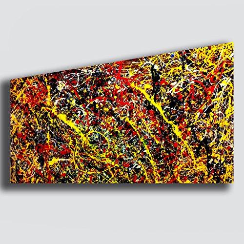 Quadro Moderno Soggiorno POLLOCK Jackson Giallo Rosso Nero - RIPRODUZIONE STAMPA SU TELA Quadri Moderni Arte Astratto Cucina salotto Camera da letto printerland.it (50x100 cm)