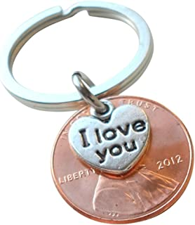 I Love You Heart Charm Layered Over 2012 Penny Keychain, 7 year Anniversary Gift, Birthday Gift, Couples Keychain